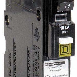 SQUARE D QO115PCAFI Circuit Breaker 15A 1 Pole 10k 120VAC