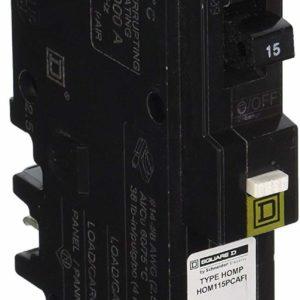 Square D HOM115CAFI Miniature Circuit Breaker Combination ARC-Fault Type, 15A, 1-Pole, 120/240VAC, HOM (Black) by Square D