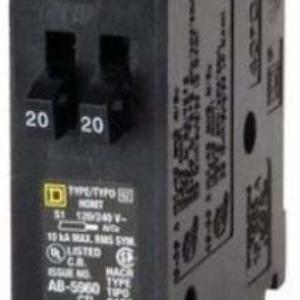 Square D HOMT2020 20/20 Amp Tandem Circuit Breaker, Brand Homeline *